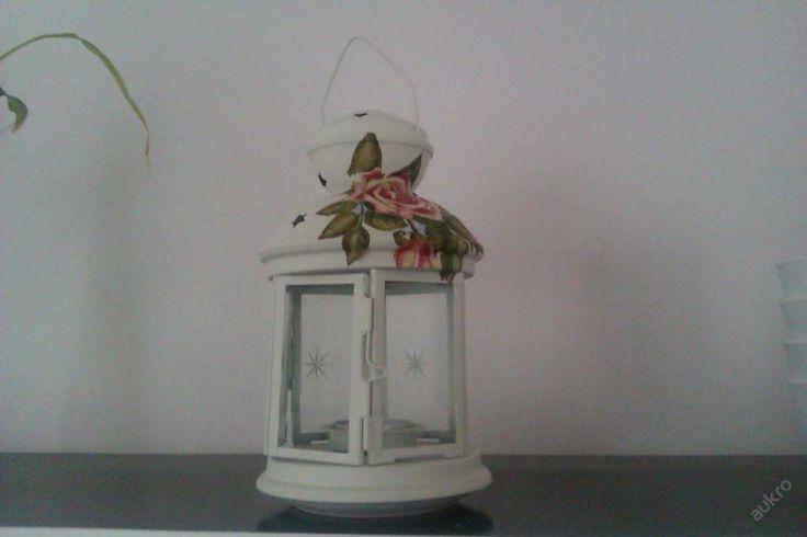 Lucerna na čajovou svíčku vintage,decoupage