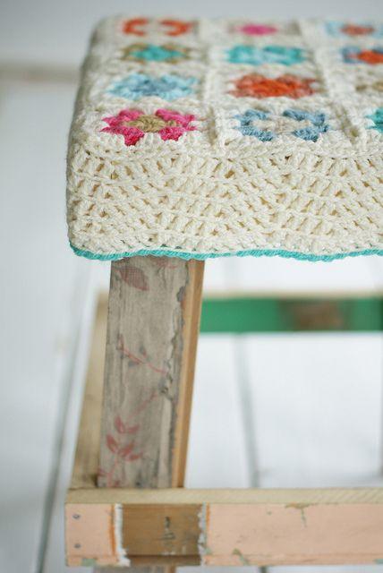Crochet stool cover..
