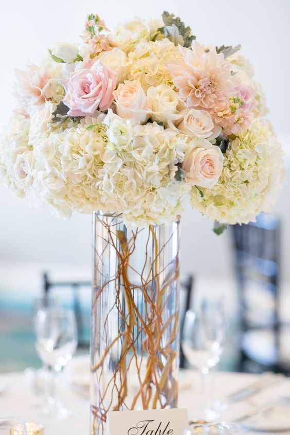 100 Beautiful Hydrangeas Wedding Ideas Tall wedding centerpieces