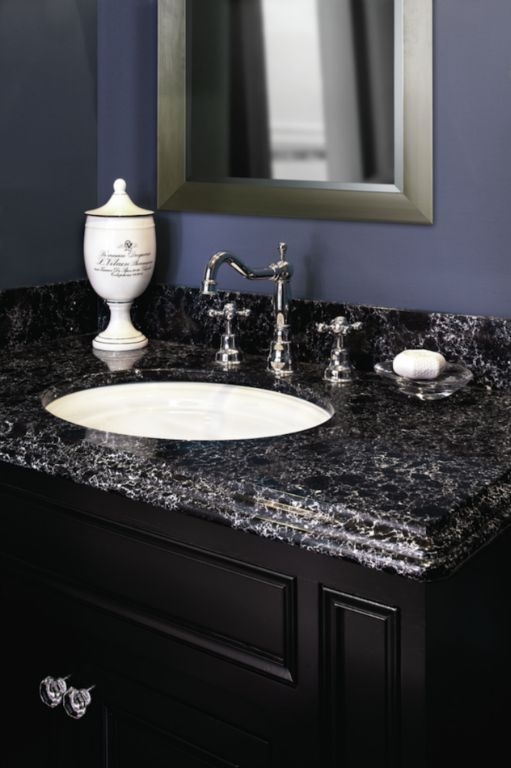 Sharpham bathroom vanity from Cambria s Waterstone Collection  I d go with  a lighter wall color and a dark wood framed mirror to match the vanity. 41 best Countertops images on Pinterest   Countertops  Granite and