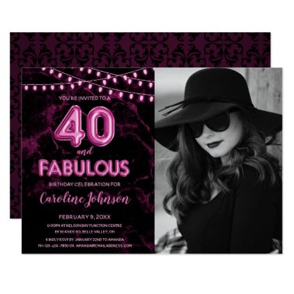 Pink 40th Birthday Party  - 40 & Fabulous Card - photos gifts image diy customize gift idea