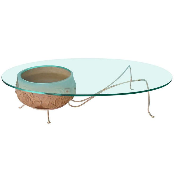 Unusual Coffee Table with Architectural Pottery by David Cressey | From a unique collection of antique and modern coffee and cocktail tables at https://www.1stdibs.com/furniture/tables/coffee-tables-cocktail-tables/