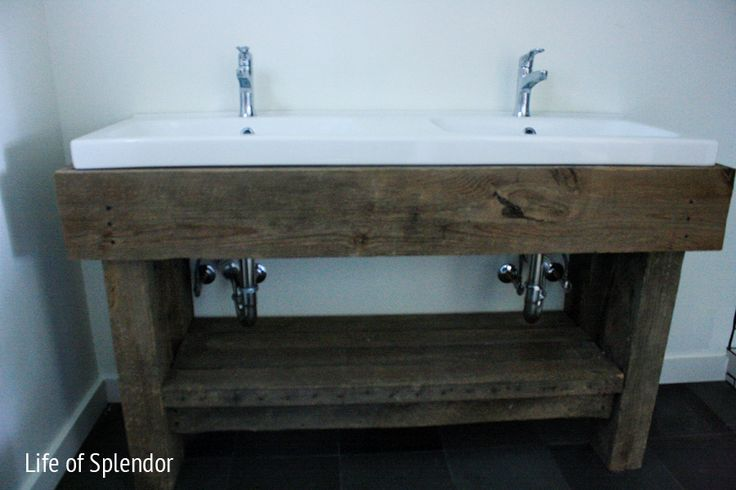 Rustic Vanity -  If they can make it so can we. They used an Ikea sink. Ok