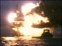 Piper Alpha oil rig disaster - the worse ever oil rig explosion killed 167. Terrifying and tragic. http://www.bbc.co.uk/programmes/p01bnzz6