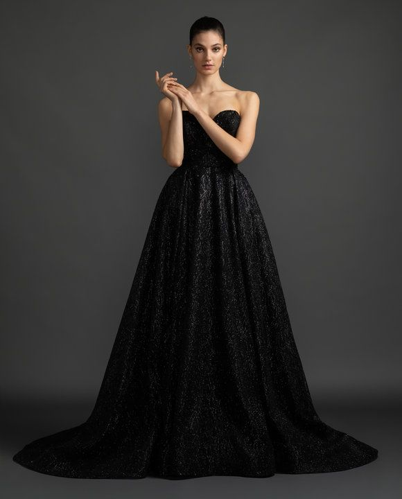 Style 3915 Veronica Lazaro Bridal Gown Black Shimmer Bridal Ball