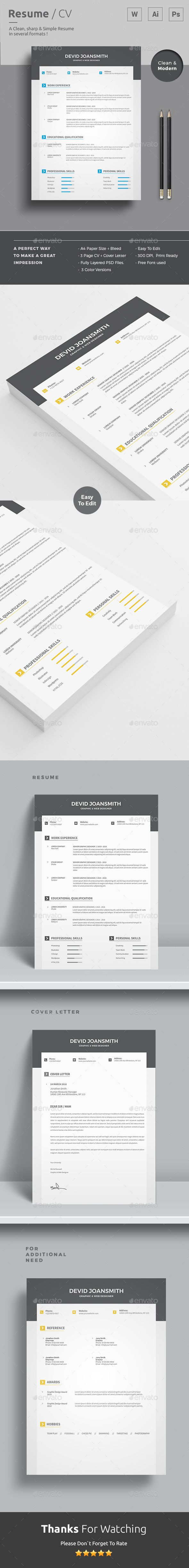 Resume Template | #CVTemplate + Cover Letter | MS Word+ PSD + AI Versions with color versions. Download and Edit http://graphicriver.net/item/resume/15277890?ref=themedevisers