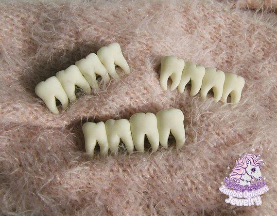 Tooth fairy hair clips creepy halloween goth horror by ZombieUnicornJewelry | Etsy