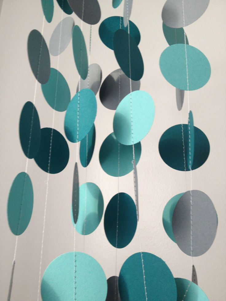 Teal Light Teal Gray 12 ft Circle Paper Garland by GreenHornArt, $8.99