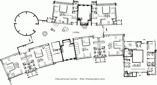 "Kfar Shemaryahu Kindergarden designed by Sarit Shani Hay | Floor Plan | ""classrooms"" face the outdoors on one side and a central foyer or lobby space"