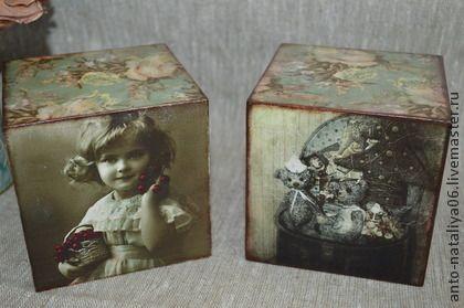 Кубики `Старые фото`. Большие деревянные интерьерные кубики. Декор ретро фотографиями со всех сторон.  Для интерьера дома в стиле винтаж.