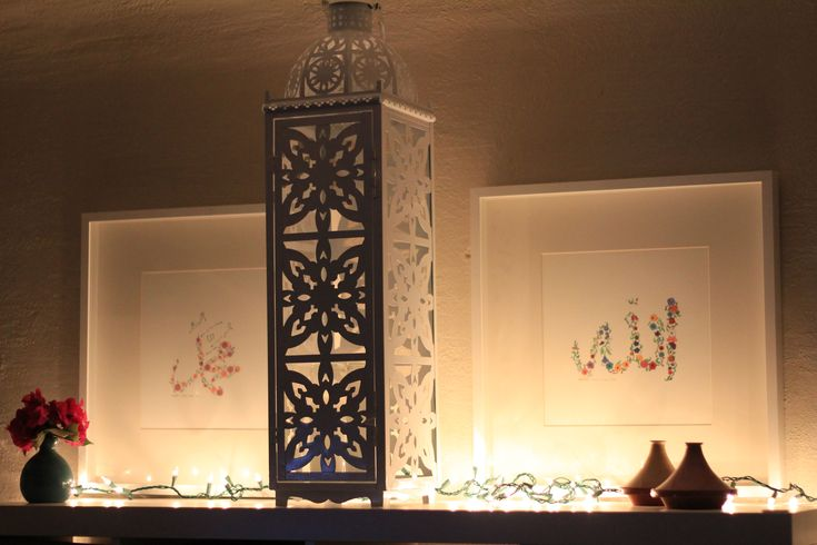 Ramadan decor, lay string lights on top of surfaces to create a easy glow to a room.