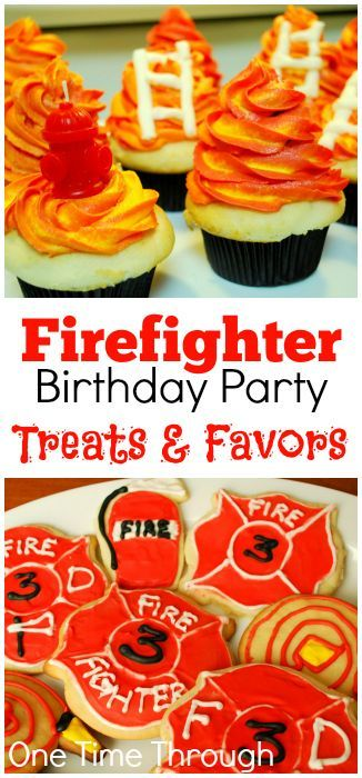 Awesome FireFighter themed TREATS! Perfect for Birthday Parties and celebrating National Fire Prevention Week. Cookies, Cupcakes and Favour Ideas! {One Time Through}