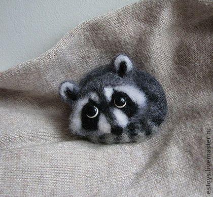 Needle felted raccoon