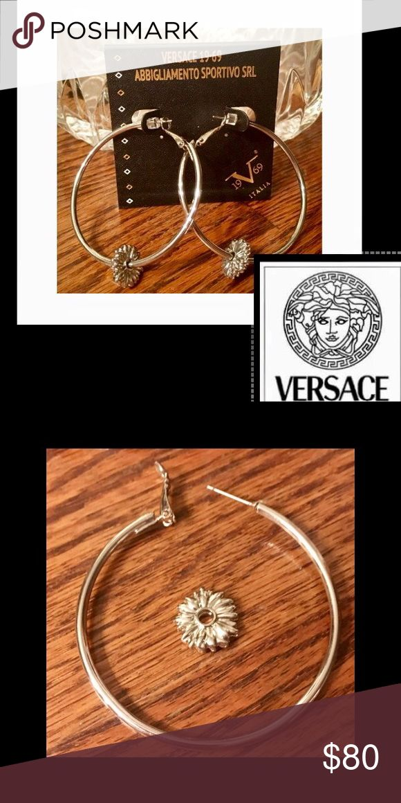 """🆕Versace 19V69🇮🇹Silver Hoops🇮🇹 Authentic Versace 19V69 Abbigliamento Sportivo❤2"""" hoops are crafted of sterling silver❤secured with leverback closures❤High Polish❤the ornate flower can be worn on the hoop for optimal elegance or with out🌹🚫trades Versace Jewelry Earrings"""