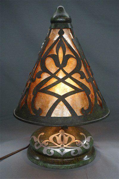 heintz witchs hat sterling over bronze w mica lamp - Antique Light Fixtures