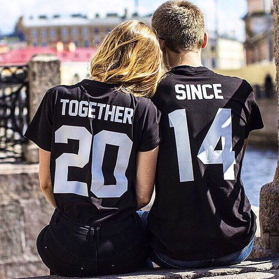 "COUPLES T-shirts set ""Together since"" set of 2 couple T-shirts custom couple…"