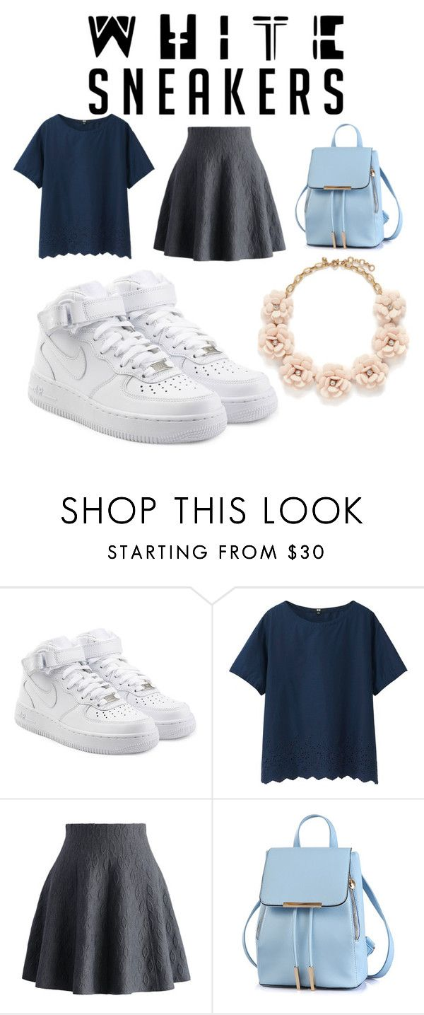 """""""Untitled #99"""" by jasmine-clarine on Polyvore featuring NIKE, Uniqlo, Chicwish, J.Crew, StreetStyle, skirts, springfashion and whitesneakers"""