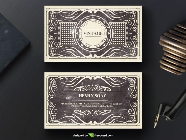 Elegant black vintage business card template - Freebcard