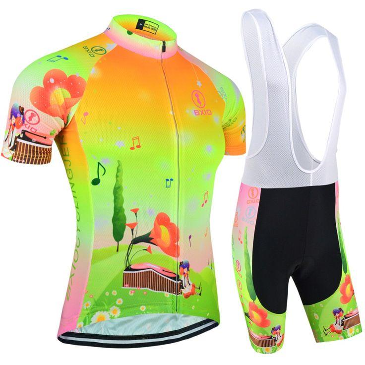 Bxio Women Cycling Jersey Sets Short Sleeve Cycling Clothes Women Fluorescence Green Bike Shirt Equipacion Ciclismo 2017 124