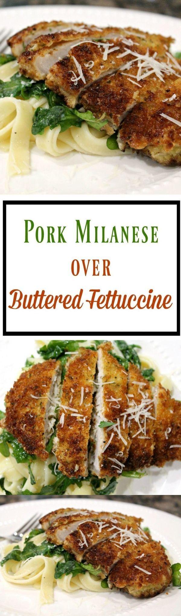 Pork Milanese Over Buttered Fettuccine