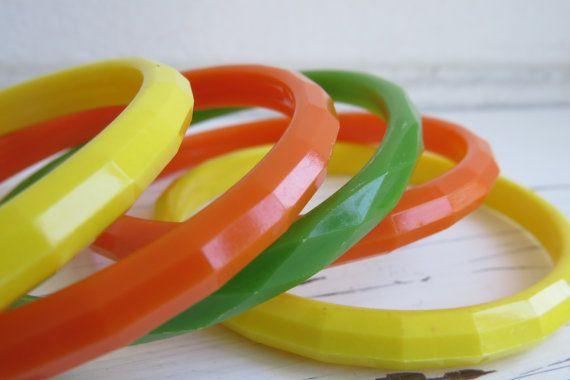 Neon bracelets Lucite Bangle Stack Vintage Boho by StellaVi, $32.00