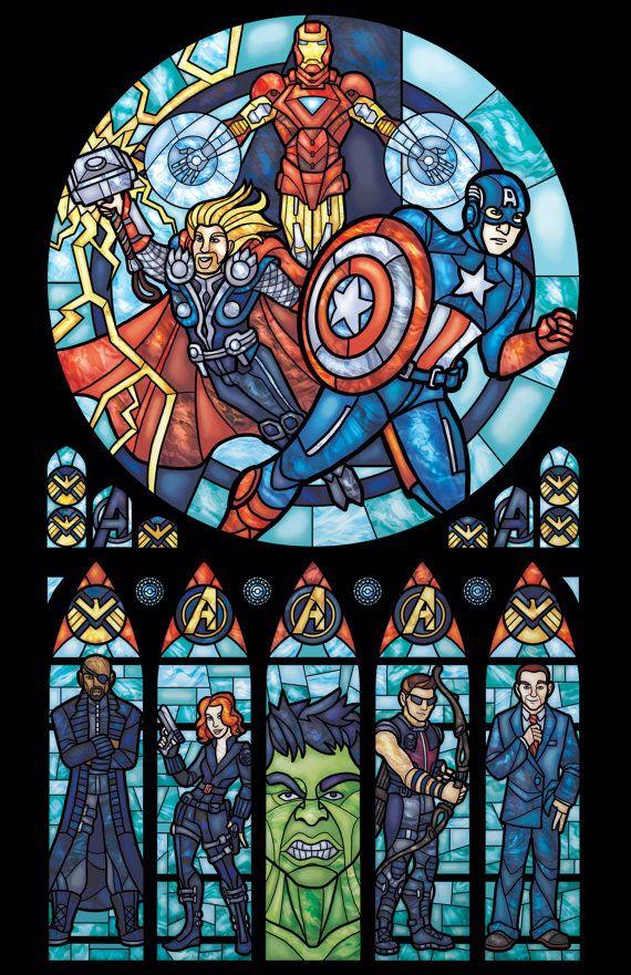 Half Size Avengers Stained Glass Illustration por 0ShardsofColor0