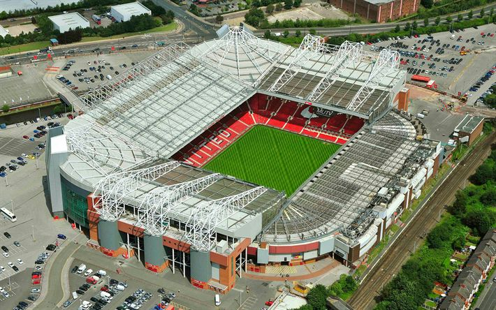 Download wallpapers Old Trafford, Theatre of Dreams, view from above, 4k, football stadium, Manchester United, England, Premier League