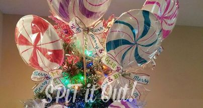 diy large lollipops wrapped candy peppermint decor or tree toppers , home decor