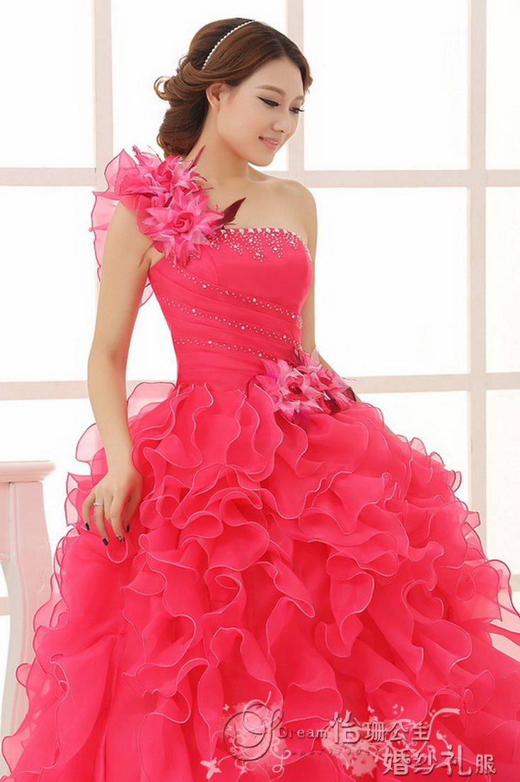 Red yellow purple blue colour princess wedding party gown 2014, colorful ball gown, colored bridal dresses, coloured prom dress
