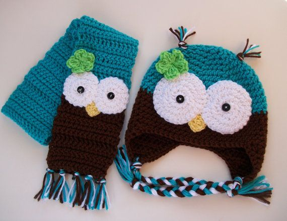 Customizable Toddler Owl Hat Scarf Set Crochet