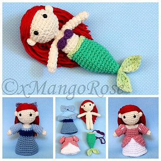 This digital download crochet pattern will produce an Amigurumi Princess Ariel plush doll inspired by Disney's The Little Mermaid.
