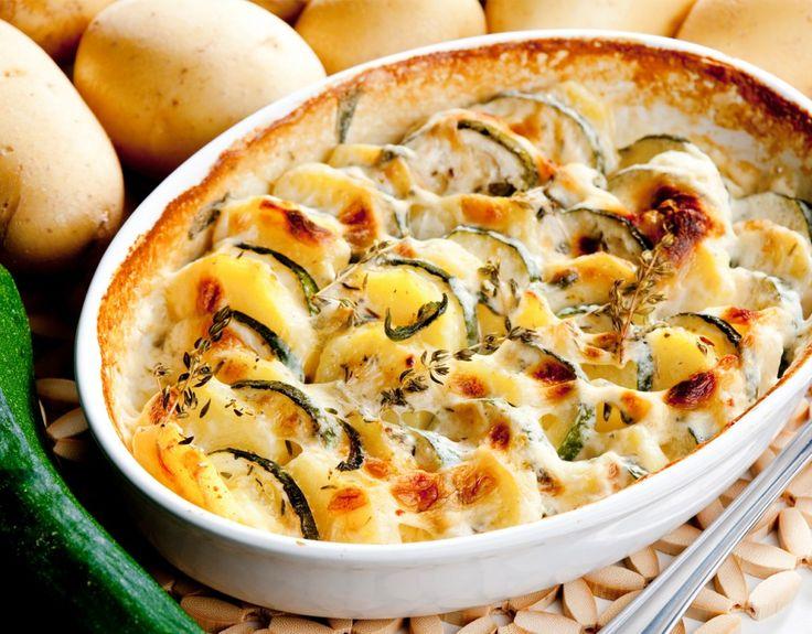 Kartoffel Gratin Zucchini Faschiertes Hackfleisch Käse Rezept herzhaft Auflauf