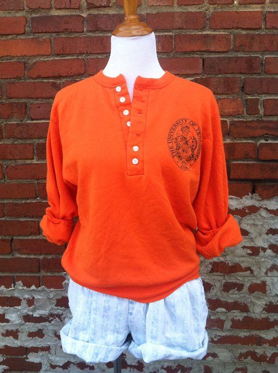 Vintage sweatshirt UT University of Tennessee VOLS henley Knoxville S M retro college football on Etsy, $18.00