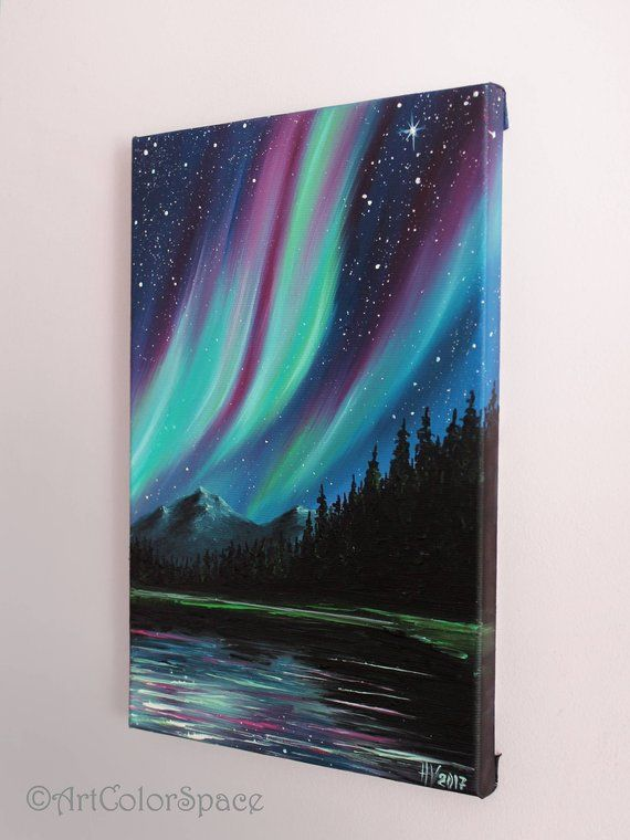 Aurora borealis Northern lights Mountains Starry sky Southern Lights Australia Galaxy painting on canvas Forest painting
