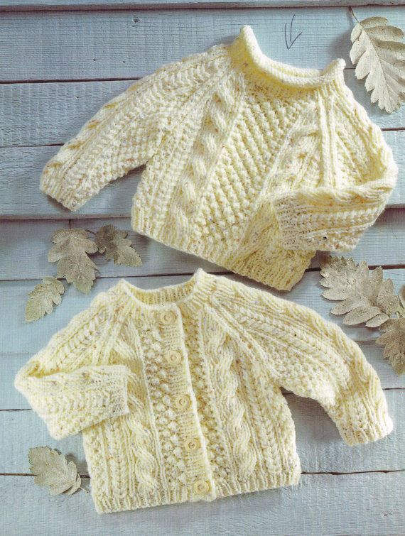 PDF Digital Baby Childrens Aran Cardigan Sweater 0-6 years