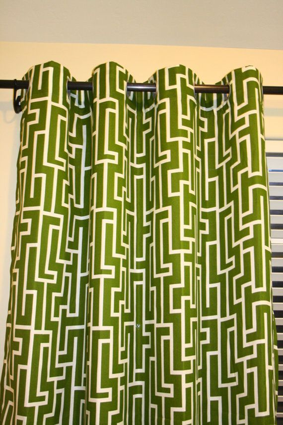 Modern geometric olive green grommet curtain 57 x84 one for Green modern curtains