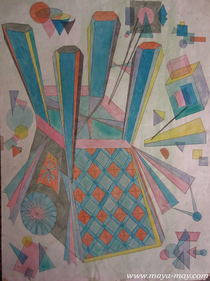 """Cubism"" by Angela Kurnia. Pencil & watercolor drawing. #painting #cubism #decorative #architecture #interior #art #graphic #design #freelanceillustrator"