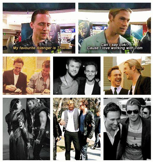 Tom Hiddleston & Chris Hemsworth http://pinterest.com/yankeelisa/marvel-s-the-avengers-4/