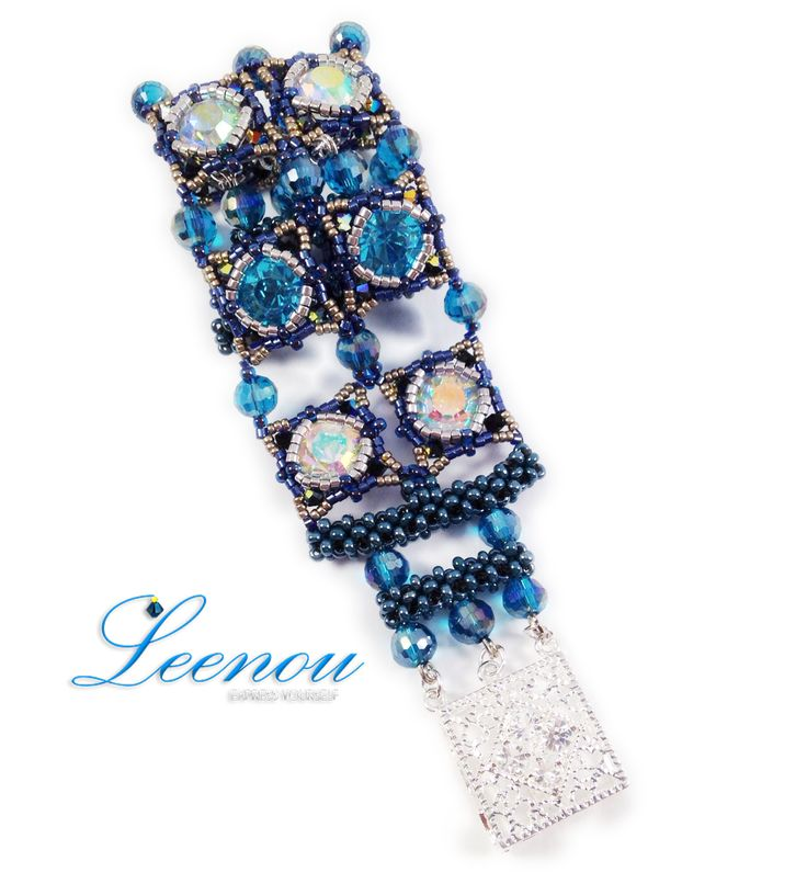 Handmade Lacy Beaded Braceletwith Blue and White Crystals for Wedding, Birthdays, Gift with Elegant Silver-Tone Clasp