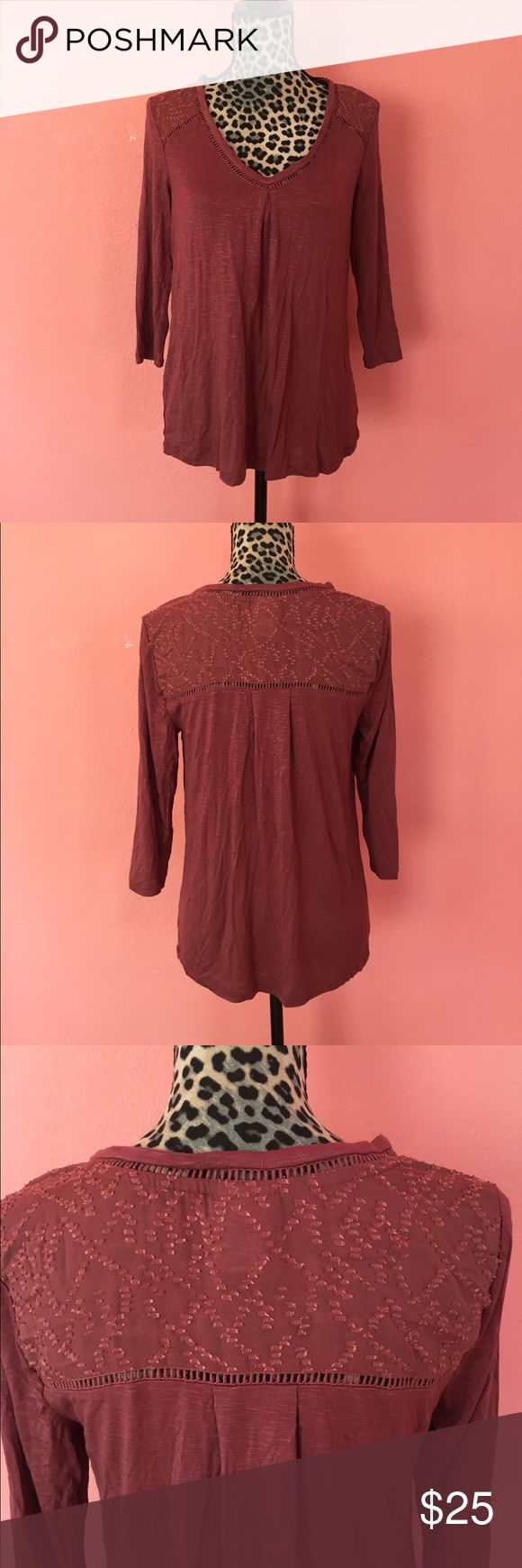 NWOT Anthropologie Dolan Mauve Maisy Knit Tee S • Dolan Left Coast Collection's , brand sold at Anthropologie stores, Maisy Tee in size Small. • Brand new with no retail tags attached. • No flaws (no smells, tears, or holes) • Top features 3/4 sleeves, contrasting dotted yoke neckline, and small cutout pattern along neckline. • Fabric is very soft, almost pajama like. • Plenty of stretch, very flowy. • No longer sold in retail stores!   Check out my other listings for more deals!!! Feel…