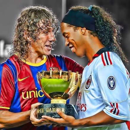 Puyol and Ronaldinho AC Milan and FC Barcelona
