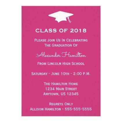 The 25 best graduation invitation cards ideas on pinterest class of 2018 cap graduation invite magenta stopboris Images