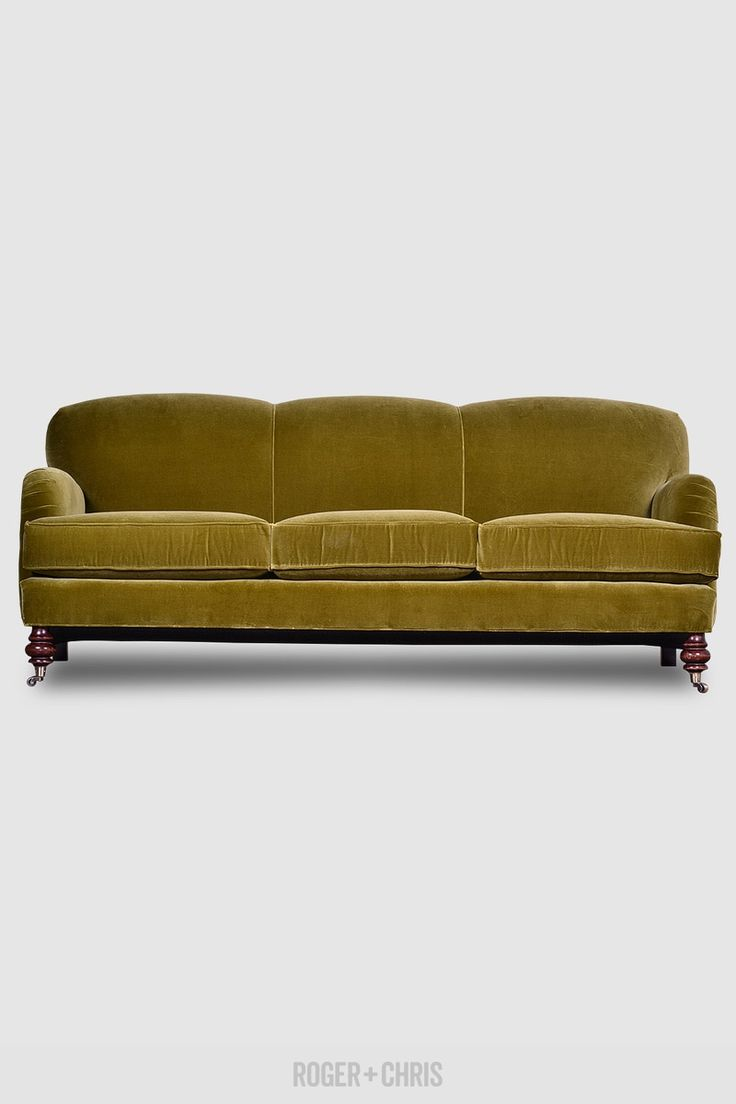 English Roll Arm Sofa In Vintage Velvet Custom Made In The U.S.A. By Roger +