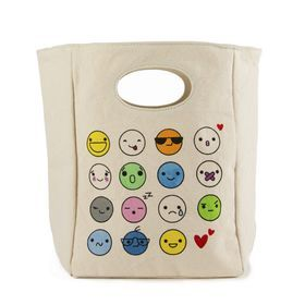 Make your organic lunch as stylish as possible with this cute emoji organic cotton lunch bag!