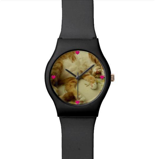 Nite Nite Dreaming Cat Watch by www.zazzle.com/htgraphicdesigner* #zazzle #watch #wristwatch #cat #gift #giftidea