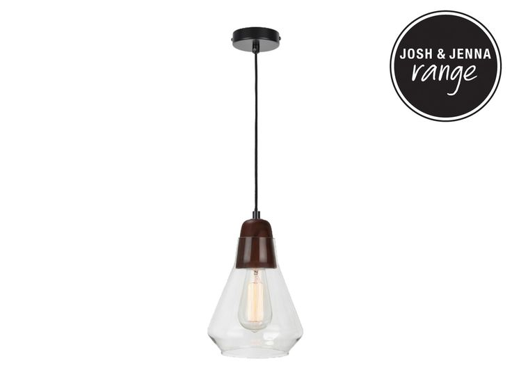 Ando 1 Light Pendant in Walnut/Glass