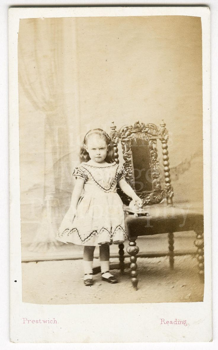 CDV Carte de Visite Photo Victorian Young Stern Looking Little Girl Holding Toy Cat on Wheels by Prestwich of Reading England
