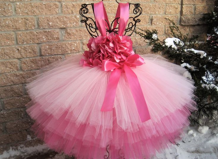 PINK VALENTINE FLOWERS - Ruffled Tutu Dress - Valentine's Day Tutu - Flower Girl Gown - Pageant Girl Dress - Baptism Gown - Pink Tutu Dress