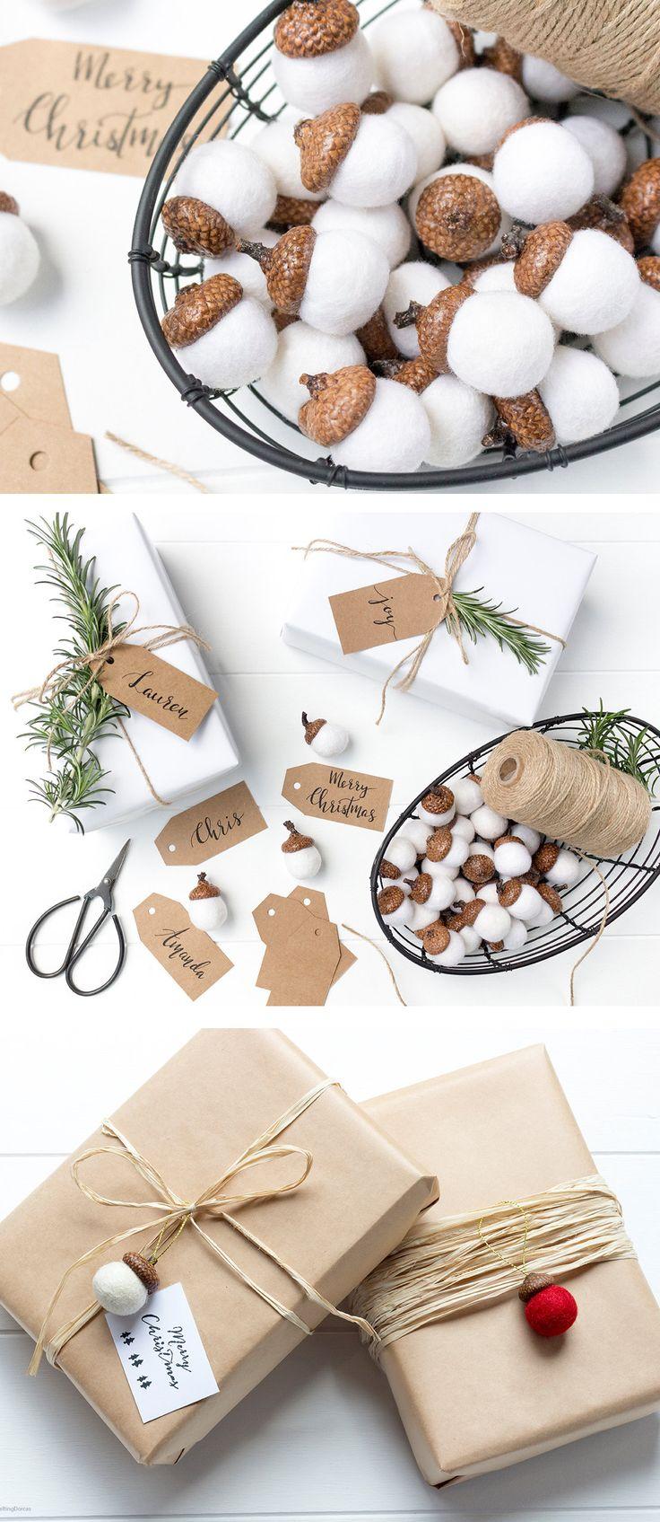 Felted Acorns. Felt Ball Acorn Ornaments. Christmas ornaments. Pom Pom. Wool Felt Ball. Christmas decorations. Gift wrap. Acorns.