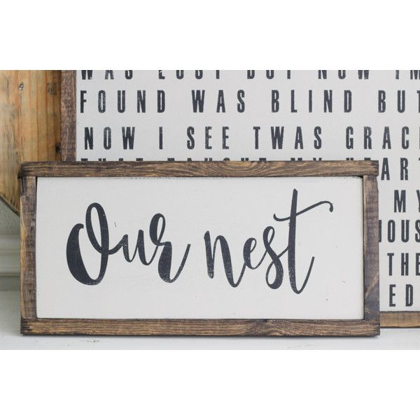 Our Nest sign calligraphy strength bible verses sign art ❤ liked on Polyvore featuring home, home decor, wall art, calligraphy wall art, text signs, typography signs, lettering signs and typography wall art